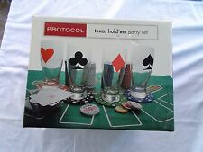 Protocol Texas Hold 'Em Party Set Unused In Box Includes 4 Pilsner Glasses