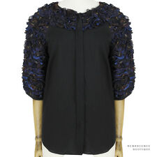 Dries Van Noten Black Cotton Ruffled Muted Tartan Blouse Top FR38 IT42