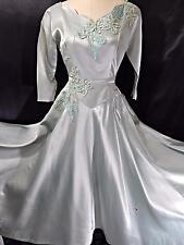 1950s Vintage PARTY DRESS~MINT GREEN SATIN A-LINE GOWN~Sequin Applique  33B 24W