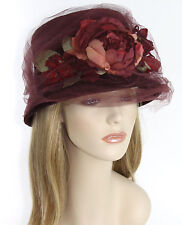 GREVI Firenze Bordeaux Burgundy Rabbit Fur Hat with Tulle & Flowers