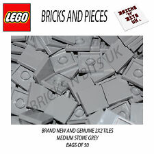 LEGO 2X2 TILE 3068 MEDIUM STONE GREY BAG OF 50, CITY, STAR WARS, CREATOR, HEROES