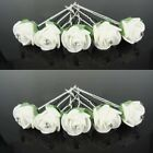 Set 10 Hair pins Roses Flower Blooms Wedding Bride Ornaments white green Strass