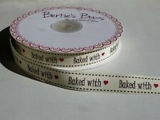 """3m Bertie's Bows Ivory """"Baked With"""" Print 16mm Grosgrain Ribbon, Gift Wrap Label"""