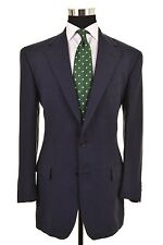 Ralph Lauren Script Solid Navy Blue 100% LINEN 2pc Suit Jacket Pants 40 L