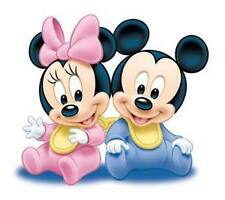"""Disney Babies, Baby Mickey and Minnie Iron On Transfer 5""""x5.75"""" For LIGHT Fabric"""