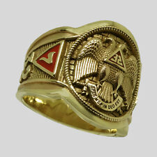 UNIQABLE Scottish Rite 10K Solid Yellow Gold Freemason Masonic Ring Mens Size 10