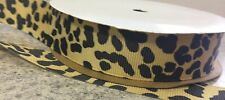 "Grosgrain Ribbon- Jungle Leopard - 7/8"" wide - 10 yard spool"
