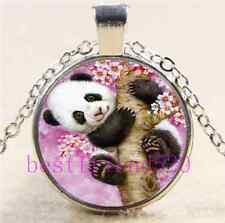 Cute Baby Panda Photo Cabochon Glass Tibet Silver Chain Pendant Necklace