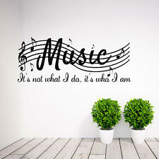 Music Is Who I am Quote Wall Decals Vinyl Sticker Mural Art DIY Room Decor lz