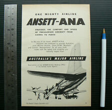 1957 vintage ad ANSETT ANA advertisement advert advertising aviation airline