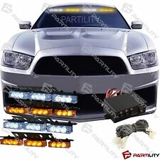 36 White & Amber Yellow LED Emergency Truck Strobe Flash Light Front Visor Rear
