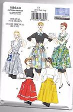 Vogue V8643 8-18 Sewing Pattern Ladies 1952 Bib & Waist Apron 5 Styles Vintage