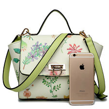 Floral Print Pattern Women Designer Wing Style Satchel Shoulder Tote Bag Handbag