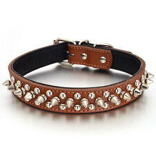 "Genuine Leather Spiked Studded Rivet Dog Collar for Puppy Pet Cat S M L 1"" Wide"