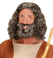 Mens Long Grey Curly Bible Wig Beard Jesus God Moses Holy Religious Fancy Dress