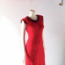 Vintage Red Mohair Holiday Dress w/ Jacket Hand Knit 2 pc Suit sz M L 6 8 10