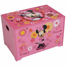 DISNEY MINNIE MOUSE TOY BOX WOODEN TOY CHEST BEDROOM FURNITURE STORAGE NEW