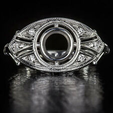 ART DECO DIAMOND SEMI-MOUNT 5mm ROUND BEZEL COCKTAIL SETTING RING 14K WG VINTAGE