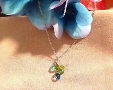 Sterling Silver Necklace Blue Topaz Peridot Aquamarine Briolette Cluster 16""