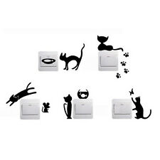 5 Black Cute Cat Light Switch Decal Vinyl Art Wall Sticker Decals Handle in door