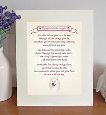"""Samoyed 10"""" x 8"""" Free Standing Thank You Poem Fun Novelty Gift FROM THE DOG"""