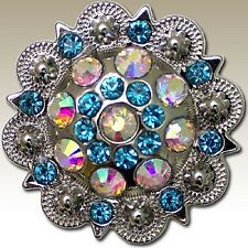 "SLC Turquoise & AB Round Crystal Berry 1-1/2"" Concho Double Screw Back"
