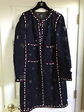 Chanel 11A NEW UNIQUE Tweed BlUE RED WHITE LONG JACKET  FR42 $9K