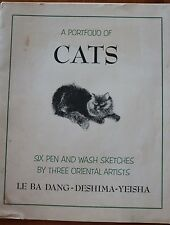 A Portfolio of Cats: Six Pen and Wash Sketches by Three Oriental Artists Vintage