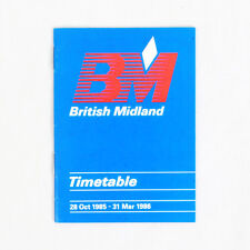 British Midland Airways - Airline Timetable - 28 Oct 195 to 31 Mar 1986