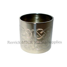 PLAIN NICKEL SILVER COLLAR FOR WALKING STICK CELTIC KNOT ENGRAVED 23mm