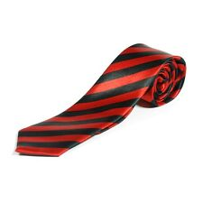 BLACK & RED STRIPED SKINNY TIE - School Uniform St Trinians Fancy Dress