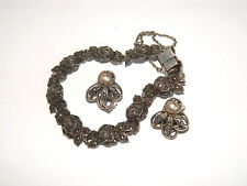 Sterling Silver Markasite Bracelet w/ Earrings Roses, Victorian