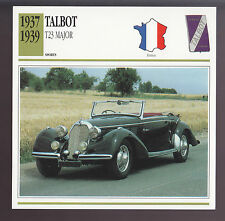 1937 1938 1939 Talbot T23 Major Cabriolet Car Photo Spec Sheet Info ATLAS CARD