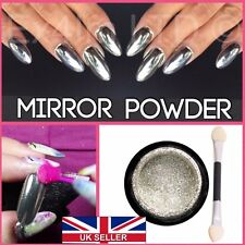 10g MIRROR POWDER CHROME EFFECT NAILS PIGMENT TREND 2016 SILVER DUST SHINE UK