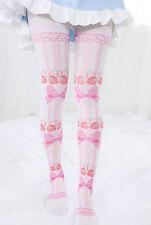 Kawaii Strawberry Bowknot Printing Japan Lolita Tights Pantyhose Cute Stockings
