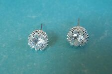 Silver-Plated Sparkly Diamante / Cubic Zirconia Stud Earrings Free Gift Wrapping