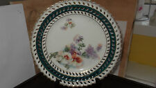 ? VINTAGE  RIBBON STYLE PLATE WITH GARDEN FLOWERS DARK GREEN /BLUE EDGE NO MAKER