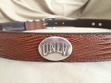 Men's Brown Genuine Leather Belt with University of Nevada Las Vegas UNLV 32