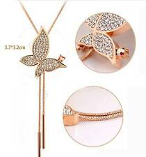 18k Rose Gold GP Austrian Crystal AAA CZ butterfly necklace Sweater chain N44