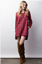 LACE UP Cozy Plaid Long Sleeve Flannel Oversized Tunic Mini Shirt Dress Red Navy