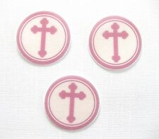 PRE CUT 12 EDIBLE RICE PAPER WAFER CARD PINK CHRISTENING CROSS CUPCAKE TOPPERS