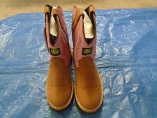 NEW DEALERS JOHN DEERE JD2185 CHILDREN'S SIZE 9.5 M TAN/PINK PULL-ON BOOT