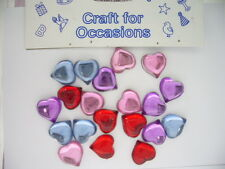 Card Making Embelishments - C414 Glass Hearts Astd Colours (20 pieces)