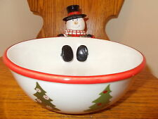 Harry & David Snowman Serving Bowl, Candy Dish Decor Holiday Christmas 2007 NWOB