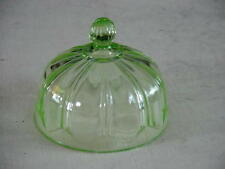 1934 AH COLONIAL FORK & KNIFE  Green Depression Glass Round Butter Dish LID ONLY