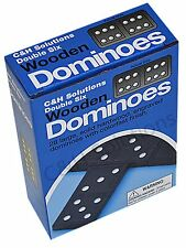 CNH Double 6 Dominoes Black With White Dots Wooden Dominoes 28 PCS