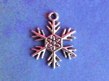 10 Silver Snowflake Snow Winter Christmas Charms for Jewelry Making