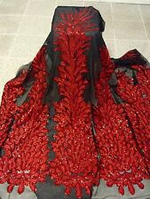 """BLACK MESH W/PEACOCK RED EMBROIDERY RHINESTONE SEQUINS FABRIC 50"""" WIDE 1 YD"""