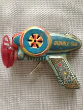 Tin Toy Space Gun Bubble Gun Lithograph Friction Made In Japan 1960's WORKS!!