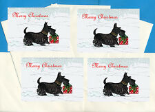 SCOTTISH TERRIER CARRIES GIFT 4 SCOTTIE DOG PRINT GREETING CHRISTMAS CARDS